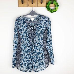 J.JILL Floral Long Sleeve Sheer Blouse